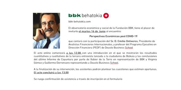 Encuentro online sobre Coyuntura y Previsiones Económicas Post COVID, con Emilio Ontiveros